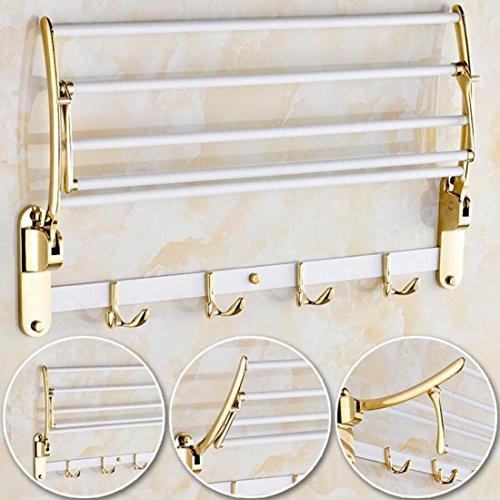 GL&G European luxury white copper Bathroom Bath Towel Rack fold Wall Mount Double Towel Bar Bathroom Storage Organizer Shelf Bathroom Accessories Bathroom Shelves by GAOLIGUO (Image #2)