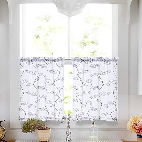 Botanical Tile - Vangao Sheer Curtains for Living Room Curtain Geometric Botanical Tile Embroidered Window Curtains Leaf Semi-sheers 1 Pair,45