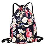 MORHUA Backpack Drawstring Bag Gymbag Drawstring Backpack Sports Travel Yoga Gymsack (Blue Wealth Flower)