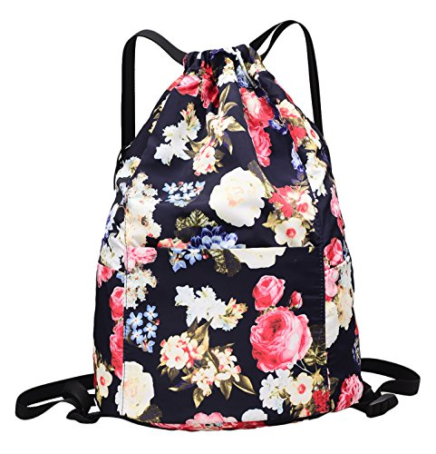 MORHUA Backpack Drawstring Bag Gymbag Drawstring Backpack Sports Travel Yoga Gymsack (Blue Wealth Flower) by MORHUA (Image #8)
