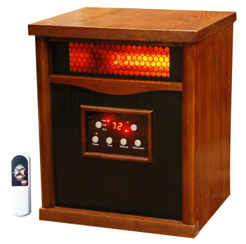 LifeSmart 6 Element Quartz w/Wood Cabinet and Remote Large Room Infrared Heater, Quakerstown Dark Oak