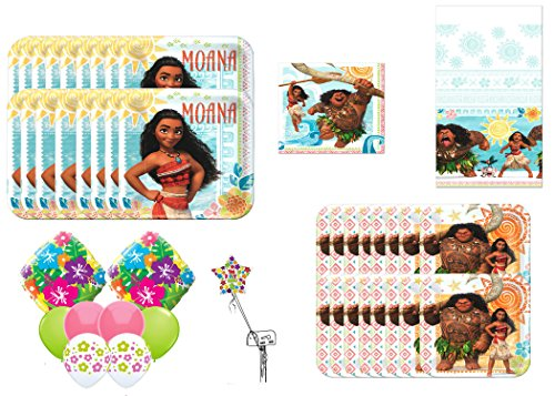 Disney Moana Ultimate Party & Balloon Bouquet ~ Dessert Plates, Lunch Napkins,Lunch Plates 1Table Cover,9pc Balloon - Ala Store Moana