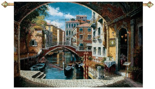 (Manual Weavers Archway to Venice Canal with Gondola Cotton Tapestry Wall Hanging - 48