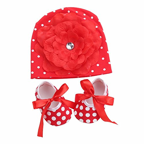 [Walid-Flower Baby Hat Dot Shoes Girls 2pcs Set ( SIZE.9 M )] (Monster High Snow Girl Costume)