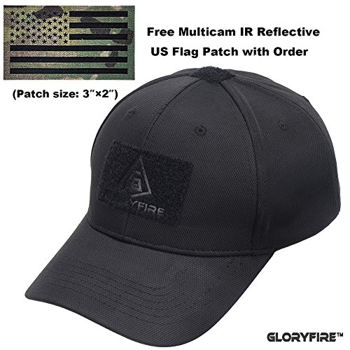 GLORYFIRE Tactical Cap Ajustable Velcro Tape Hook and Loop Panels for Patches with Free IR Multicam Infrared USA Flag Military Morale Reflective Patch (Black with IR Patch)
