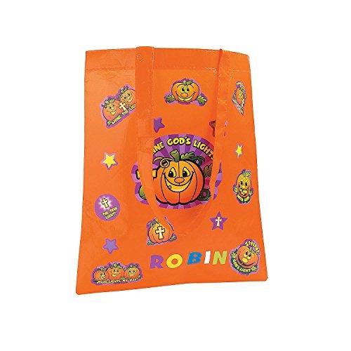 Fun Express - DIY Christian Pumpkin Treat Bag for Halloween - Craft Kits - Apparel Craft Kits - Bag - Halloween - 6 Pieces ()