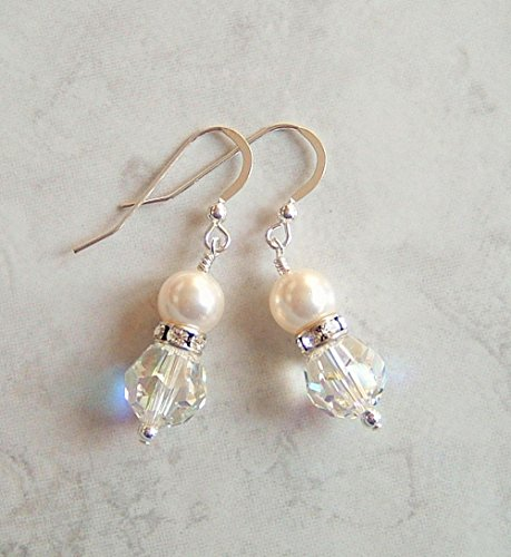 Pretty Aurora Borealis Round Crystal Simulated Pearl Sterling Silver & Plated Earwire Earrings Gift Idea (Balls Rondelles Crystal Swarovski)