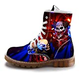 FIRST DANCE Fashion Mens Skull Boots Martins Shoes for Men Skeleton Print Black Ankle Men Black Shoes 8.5US