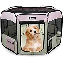 "Jespet 45"" Pet Dog Playpens, Portable Soft Dog Exercise Pen Kennel with Carry Bag for Puppy Cats Kittens Rabbits, Pink"