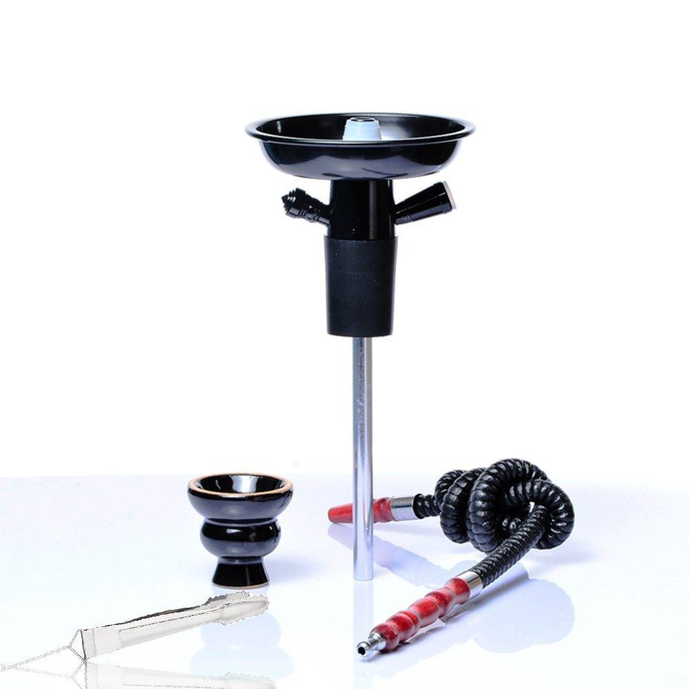 IMMIGOO Portable Hookah Shisha Set/Kit, in Aluminium, with Ceramic Shisha Bowl, Pipe, Stem, Coal Clamp, Suitable for Most Plastic Bottles, Glass Bottles, Wine, Champagne, etc. (Black)