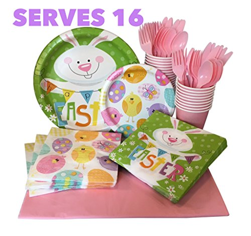 Easter Paper Plates and Napkins Set Serves 16 with Cups, Utensils and Tablecloth Be Ready for Easter on April 1, 2018 (Easter Bunny)