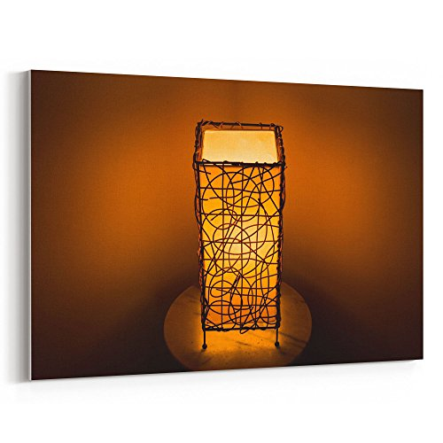 Hand Printed Shade Table Lamp - Westlake Art - Lamp Light - 12x18 Canvas Print Wall Art - Canvas Stretched Gallery Wrap Modern Picture Photography Artwork - Ready to Hang 12x18 Inch (C221-2D224)