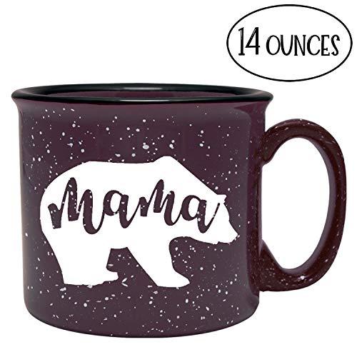 Cute Girly Ceramic Coffee Mug for Mom, Women - Mama Bear - Plum - Unique Fun Gifts for Her, Wife, Mom, Under $20 - Handmade Coffee Cups & Mugs with Quotes, 14 oz Bear Ceramic Coffee Mug
