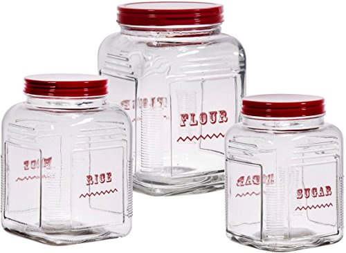 Homephile glass Canister /Jar with Red Screw Lid • Use As Storage Rice - Flour - Sugar Canister • Wide Mouth / Square Shape / Set of ()