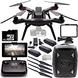 3DR Solo Quadcopter (No Gimbal) with Manufacturer Accessories + 2 Extra 3DR Flight Batteries + 2 3DR Propeller Sets + 3DR Solo Backpack + 32GB microSD Memory Card + Microfiber Cleaning Cloth