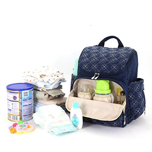 LCY Unisex elegante mochila multifunción cambiador de bebé bolsa mochila con correas para el carrito y cambiador Khaki/Apricot azul marino