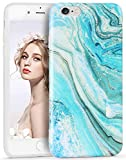 Imikoko iPhone 6 Case, iPhone 6s Phone Case Trendy Green Blue Marble Design Slim Thin Anti-Scratch Shock Absorption Cover Matte Flexible Clear TPU Bumper Soft Skin For iPhone 6s/6 (4.7 Inch)