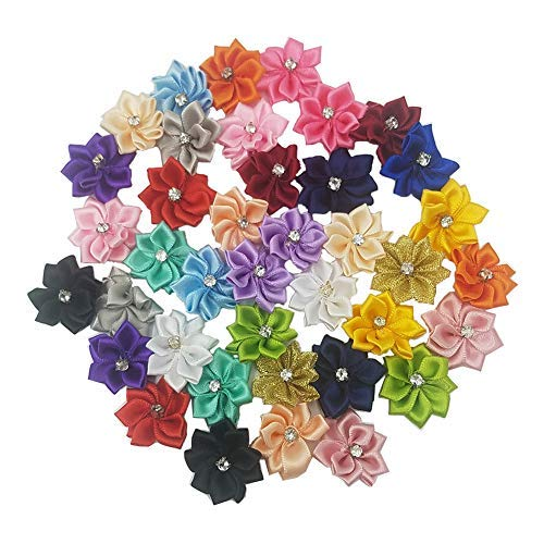 Tianying 40 Pack Satin Ribbon Flowers Bows 11in Rhinestones Appliques Party Weddng Supply Home Decor DIY Craft MultiColor