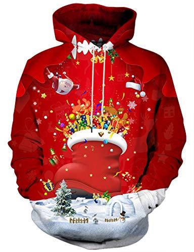 Linnhoy Unisex Cute 3D Santa Print Ugly Christmas Sweatshirt Hoodies Pullover with Kangaroo Pocket, Medium