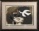 """Lithograph on Richard de Bas, after the French artist Georges Braque. The original image is from 1956. Signed in the plate. Edition: 300. Displayed in a dark wood frame with linen mat. Image Size: 13.5x18.75 in. From the Portfolio """"Espace"""" with text ..."""