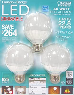 Feit Electric BPCEG25 Dimmable G25 Decorative Bulb, 11.1 x 8.7 x 3-Inches, White, Pack of 3