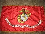 Cheap Marines USMC 3 x 5 ft Double Sided Solarmax 2ply Nylon gold fringe sleeve Flag
