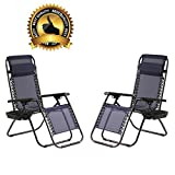 Zero Gravity Chairs Set of 2 Patio Adjustable Dining Reclining Folding Chairs BestMassage