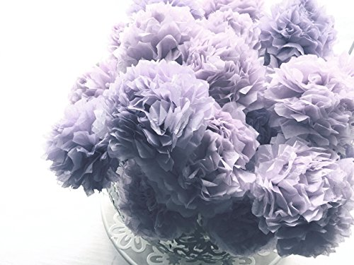 Dusty Purple Mauve Tissue Paper Pom Pom Flower Wooden Sticks Table Décor Floral Centrepiece Paper Handmade Home Party Decorations InsideMyNest (Set of 12)
