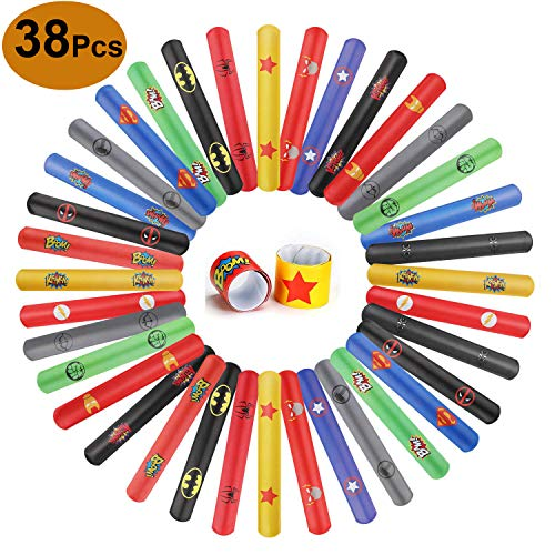 IRuiYinGo Superhero Slap Bracelets - Slap Bands Birthday Party Favors Party Supplies Hero Carnival Prizes for Kids Boys Girls(38 Pack) ()