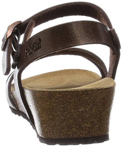 Papillio Alyssa Birko-Flor Damen Knöchelriemchen Sandalen mit Keilabsatz Braun (Graceful Toffee)