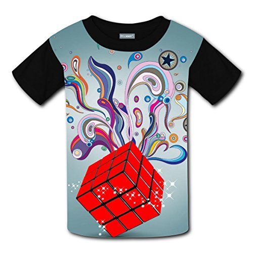 Kids Rubiks Cube Costumes (Rubik's Cube Creative Soft Short 3DPrinted Unisex Kid Round Sleeve Boys' Family T-Shirt L)