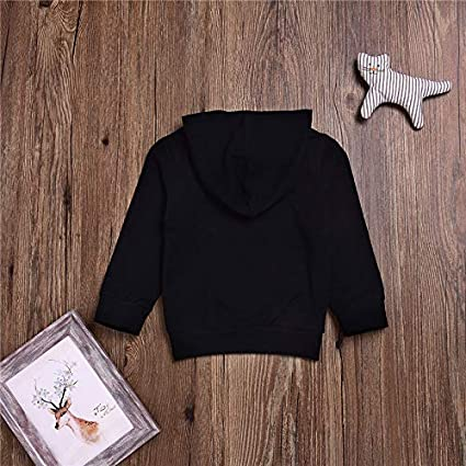 Kids Baby Boy Girl Hooded Sweatshirt Tops Black Casual Hoodie with Pocket Outfit
