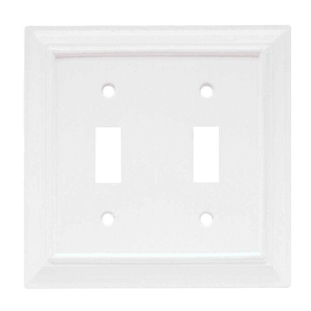 Hampton Bay Wood Architectural 2 Toggle Switch Wall Plate - White