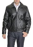 Tommy Hilfiger Solid Black Genuine Leather Jacket Bomber Coat