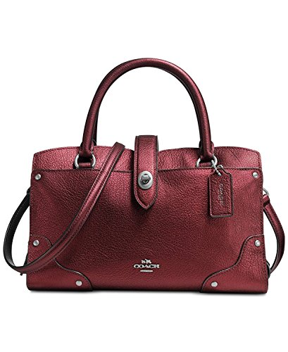 Coach Metallic leather Mercer 24 Metalic Cherry ()