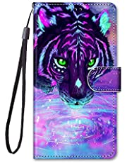 Miagon Full Body Case for Samsung Galaxy S21 Plus,Colorful Pattern Design PU Leather Flip Wallet Case Cover with Magnetic Closure Stand Card Slot,Drinking Tiger