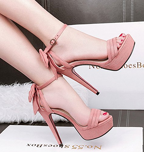Sandals Strap Bowknot Toe Platform Women's With Dressy High Ankle Buckled Open Cute Heel Aisun Pink Stiletto wxpf16PA