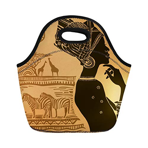 Semtomn Lunch Tote Bag Orange People Beautiful Black Woman African American Africa Tribal Reusable Neoprene Insulated Thermal Outdoor Picnic Lunchbox for Men -
