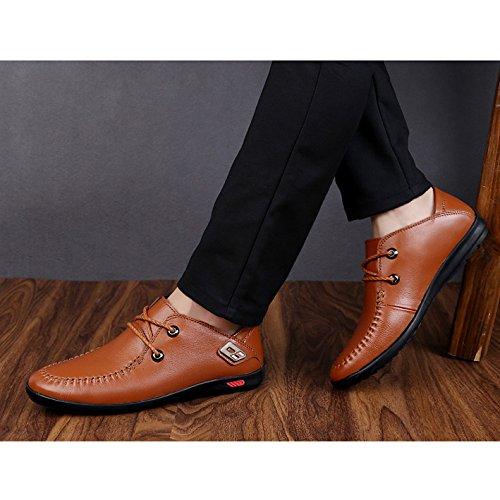 Scarpe Cuoio WKNBEU Fashion Da Primavera Nero Business Estate Uomo Casual Oxford Scarpe Marrone Pizzo Brown Low Top Derby Di dtrwqr7