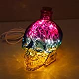 DMMSS Modern Creative 3 Color Night Light Bedroom Bedside Lamp Led Energy-Saving Skull Headlights Usb Charging Desk Lamp Desktop Writing Lamp Led Night Lights L11CmW9CmH14Cm , 1