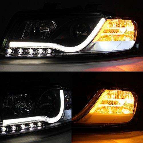 Audi A4 B6 Sport Sedan Negro Bisel DRL LED de conducción diurna Luz Tubo diseño Proyector Faros lámparas: Amazon.es: Coche y moto