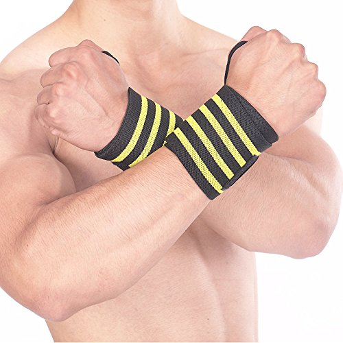 Wrist Wraps Weight Lifting Wrist Straps Belt Support Braces with Thumb Loops for Weightlifting Strength Training Crossfit Gym Bodybuilding,Men&Women,Yellow(1 pair)