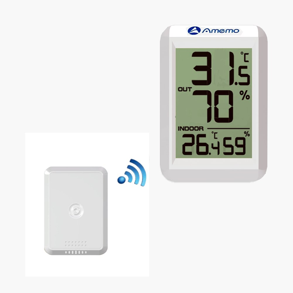 Amemo Weather Station FT0423 Digital Hygrometer Thermometer LED Display Indoor Outdoor Temperature Meter Humidity Monitor.