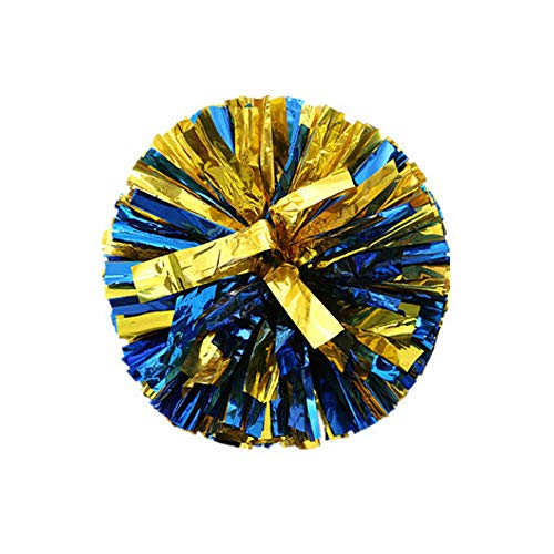 Wgg Cheerleading Pom Poms Cheering Squad Spirited Fun Cheerleading Kit for Sports Team Spirit Cheering, Pack of 2 (Gold Mixed Blue)