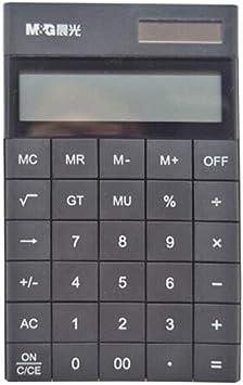 Calculator Dual Power Supply, Simple Flat Desktop Large Screen Calculator, 12-bit Widescreen Display, Adjustable Back Frame Office Learning Tools (Color : Black)