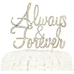 Ella Celebration Always and Forever Wedding Cake Topper, Gold Rhinestone Romantic Decoration (Always & Forever) (Gold)
