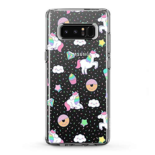 Lex Altern Samsung Galaxy TPU Case Note Edge s9 2018 Plus A7 A8 s8 A9 White Unicorn Cute Pink Clear Donuts Cover Silicone Durable Print Protective Girl Design Transparent Women Teen Flexible Pattern
