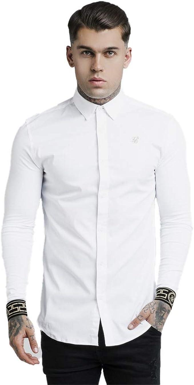 Sik Silk de los Hombres Camisa del Cartel, Blanco