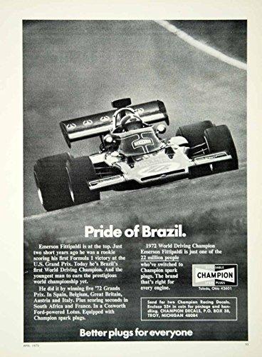 - 1973 CHAMPION SPARK PLUGS with EMERSON FITTIPALDI