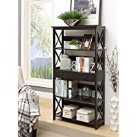 Convenience Concepts Oxford 5-Tier Bookcase with Drawer, Black